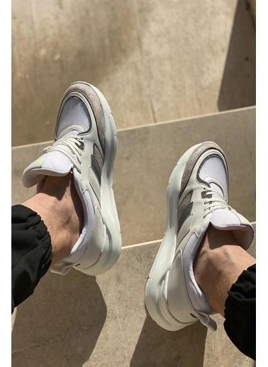 İnan Ayakkabı Erkek Kenarları Şerıt Çızgı Detaylı Sneaker Spor Ayakkabı Gri
